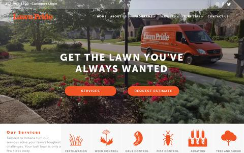 Screenshot of Home Page lawnpride.com - Lawn Pride   Your Central Indiana Lawn Care Specialist - captured Sept. 27, 2018
