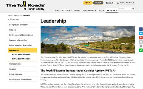 Screenshot of Team Page thetollroads.com - Leadership | The Toll Roads - captured Sept. 22, 2018