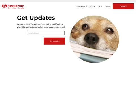 Screenshot of Signup Page pawsitivityservicedogs.com - Newsletter - captured July 16, 2018