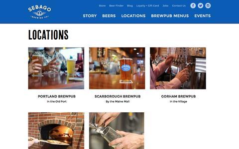 Screenshot of Locations Page sebagobrewing.com - Locations - Sebago Brewing - captured Nov. 19, 2016