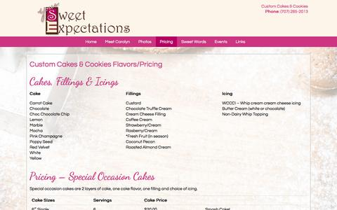 Screenshot of Pricing Page yoursweetexpectations.com - Custom Cakes & Cookies by Gourmet Dessert Bakery near Petaluma CA   Your Sweet Expectations - captured Feb. 23, 2016