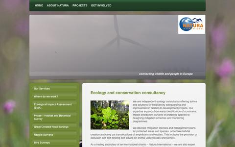 Screenshot of Services Page natura-international.org - Natura International - Biodiversity Conservation in Europe - Ecological Services - captured Oct. 9, 2014