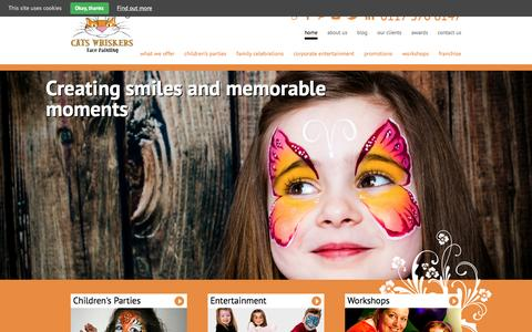 Screenshot of Home Page catswhiskers.biz - Face Painting Bristol, Bath, South Glos - Cats Whiskers - captured Jan. 26, 2016