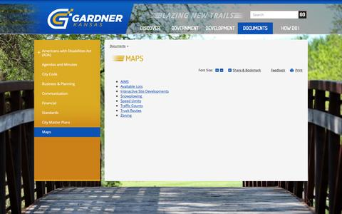 Screenshot of Maps & Directions Page gardnerkansas.gov - Gardner, KS : Maps - captured Nov. 6, 2016