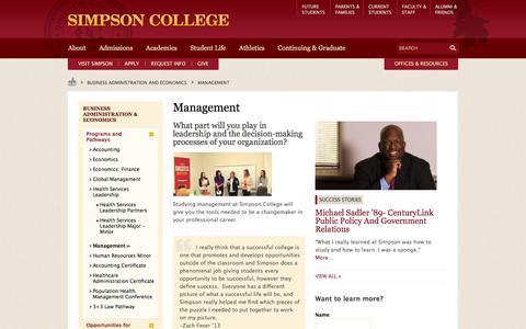 Screenshot of Team Page simpson.edu - Management - captured Sept. 10, 2016