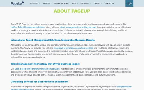 Screenshot of About Page pageuppeople.com - Corporate Overview - About PageUp - captured June 17, 2015