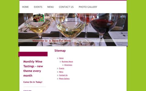 Screenshot of Site Map Page tasteforwine.net - Home - A Taste For Wine - captured Oct. 3, 2014