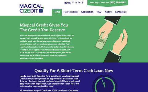 Screenshot of Home Page magicalcredit.ca - Poor Credit Loans | Online Loans Fast | Cash Loans | Magical Credit | Toronto | Ontario - captured Sept. 30, 2014