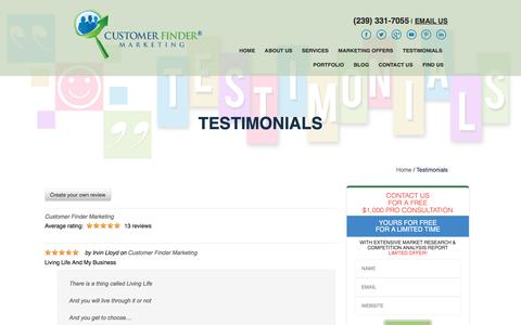 Screenshot of Testimonials Page customerfindermarketing.com - Testimonials   Marketing Consultants Naples FL   Marketing Agency FL - captured May 23, 2017