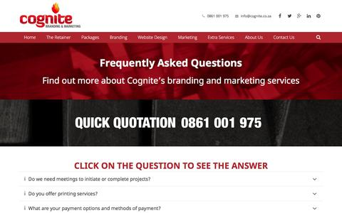 Screenshot of FAQ Page cognite.co.za - Graphic and Website Design Frequently Asked Questions - captured Jan. 29, 2016
