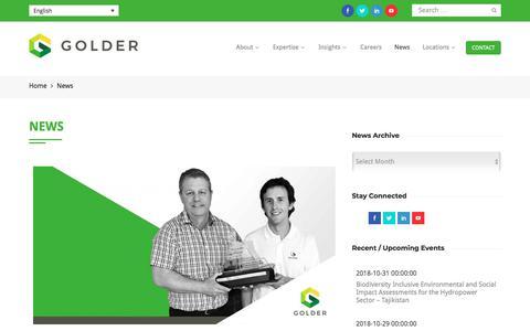 Screenshot of Press Page golder.com - News | Golder - captured Sept. 20, 2018