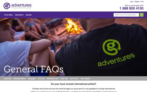 Screenshot of FAQ Page gadventures.com - General - FAQ - G Adventures - captured Sept. 18, 2014