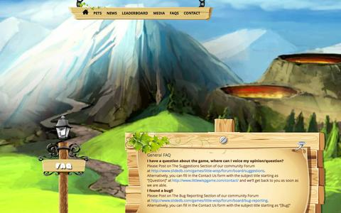 Screenshot of FAQ Page littlewispgame.com - FAQs - Little Wisp Game - captured Oct. 3, 2014