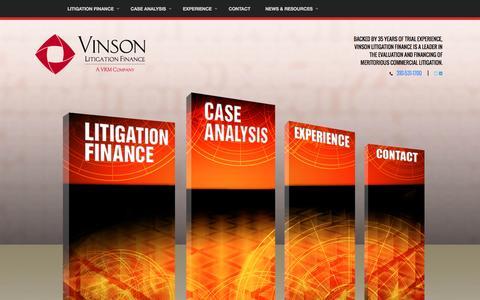 Screenshot of Home Page vinres.com - Litigation Financing and Commercial Funding // Vinson - captured Feb. 16, 2016