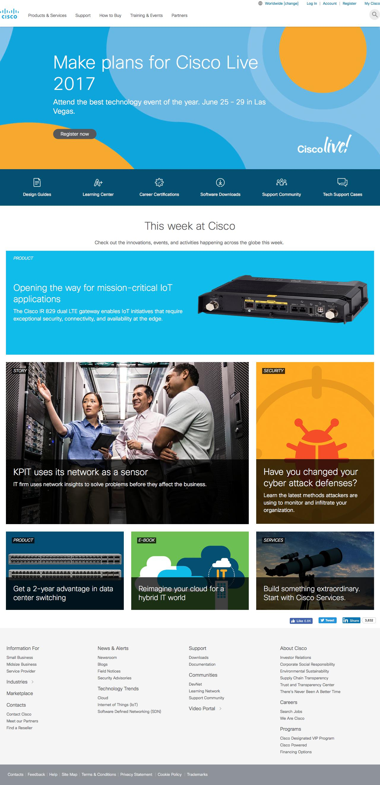 Screenshot of cisco.com - Cisco - Global Home Page - captured June 10, 2017