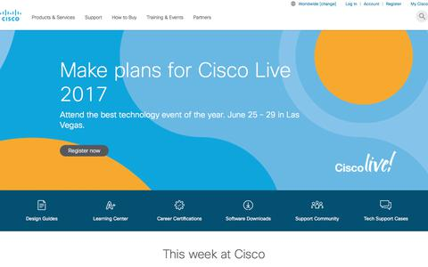 Screenshot of Home Page cisco.com - Cisco - Global Home Page - captured June 10, 2017
