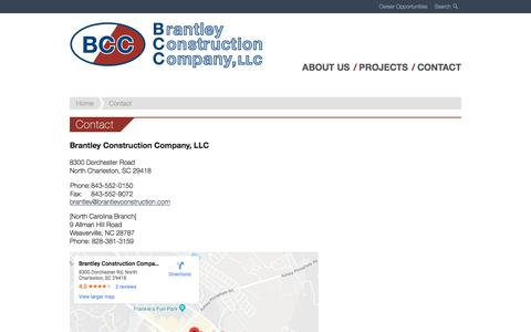 Screenshot of Contact Page brantleyconstruction.com - Contact - Brantley Construction - captured Oct. 10, 2019