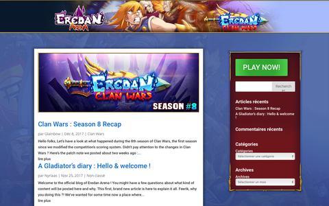 Screenshot of Blog eredan-arena.com - Blog - Eredan Arena - captured Oct. 10, 2018