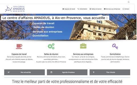Screenshot of Home Page aixbureaux.com - accueil – Aix Bureaux - Centre d'affaires Amadeus - captured Sept. 10, 2015