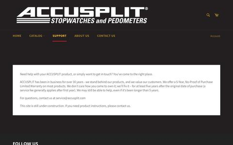 Screenshot of Support Page accusplit.com - Service & Support – ACCUSPLIT - captured Oct. 6, 2017