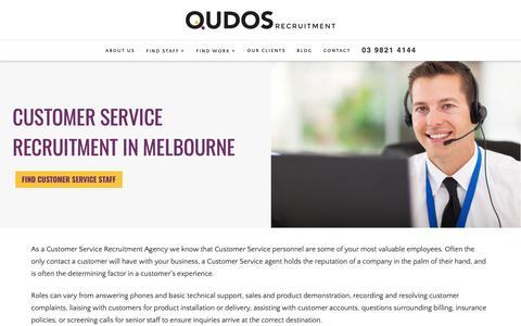 Screenshot of Support Page qudos.com.au - Customer Service Recruitment Agency in Melbourne | Qudos Recruitment - captured Sept. 30, 2018