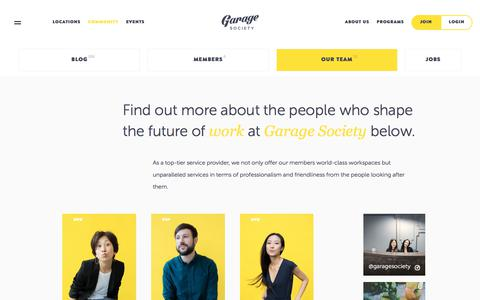 Screenshot of Team Page thegaragesociety.com - Garage Society   Co working Space   Shared Office in Hong Kong - captured July 26, 2018