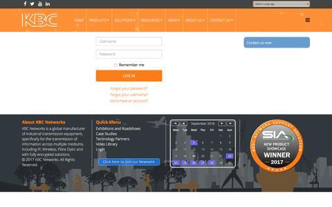 Screenshot of Login Page kbcnetworks.com - Login - KBC Networks - captured Sept. 20, 2018