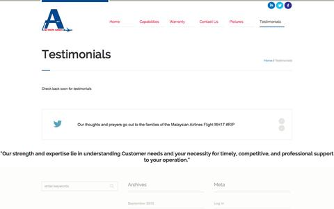 Screenshot of Testimonials Page actionaero.com - Action Aero | Charlottetown, PE Canada - captured Sept. 30, 2014