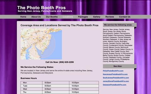 Screenshot of Locations Page thephotoboothpros.com - Serving Locations in New Jersey, Pennsylvania, Delaware & Maryland - captured Sept. 21, 2018