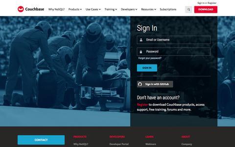 Screenshot of Login Page couchbase.com - Sign In - captured Nov. 23, 2015