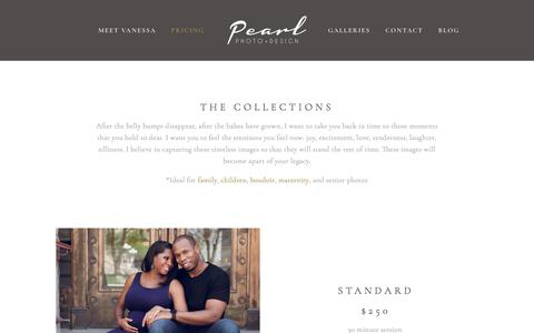 Screenshot of Pricing Page pearlphotodesign.com - Collections and Pricing — Pearl Photo & Design   Lafayette Indiana Photographer   Newborn, Family, Boudoir Photographer - captured July 16, 2018