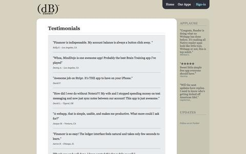 Screenshot of Testimonials Page dbelement.com - dBelement - Testimonials : Hear what others had to say about us - captured Oct. 5, 2014
