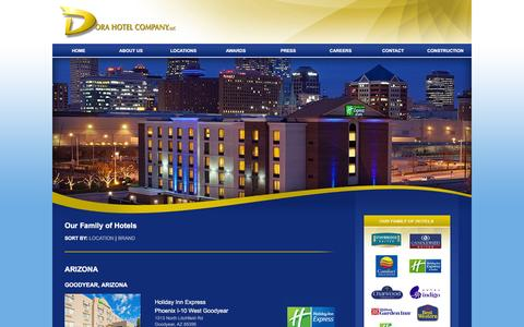 Screenshot of Locations Page dorahotelco.com - Dora Hotels Locations | Indiana Hotel Properties of Dora Hotel Company - captured Feb. 9, 2016