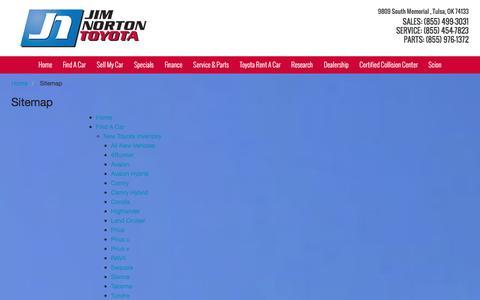 Screenshot of Site Map Page jimnortontoyota.com - Sitemap | Jim Norton Toyota in Tulsa, OK - captured Jan. 9, 2016