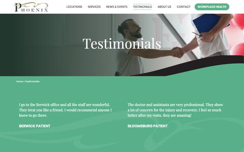 Screenshot of Testimonials Page phoenixrehab.com - Testimonials - PHOENIX Rehabilitation and Health Services - captured Sept. 26, 2018