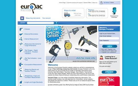 Screenshot of Home Page europacprecision.com - Comprehensive range of metrology measuring instruments - EuroPac Precision - captured Sept. 30, 2014