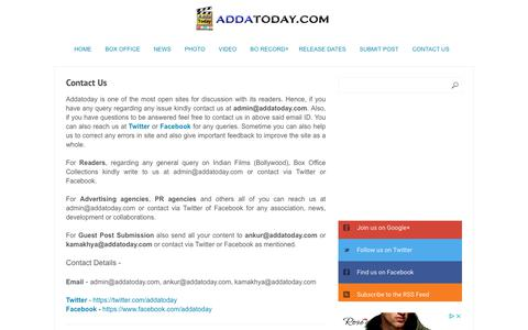 Screenshot of Contact Page addatoday.com - Contact Us - captured Oct. 16, 2018