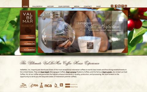 Screenshot of Home Page valbemar.com - ValBeMar Specialty Coffee: Premium Coffees from Indonesia - captured Oct. 9, 2014