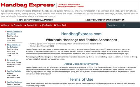 Screenshot of About Page Privacy Page Terms Page handbagexpress.com - Handbag Express ® - Wholesale handbags, wholesale designer handbags, wholesale fashion handbags - captured Sept. 23, 2018