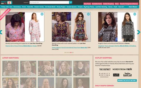 Screenshot of Home Page wornontv.net - WornOnTV.net | Fashion from TV Shows including Pretty Little Liars, Vampire Diaries, Big Bang Theory, Revenge and more - captured Dec. 19, 2015