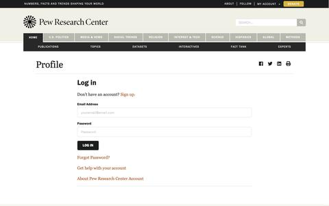 Screenshot of Login Page pewresearch.org - Profile | Pew Research Center - captured March 21, 2019