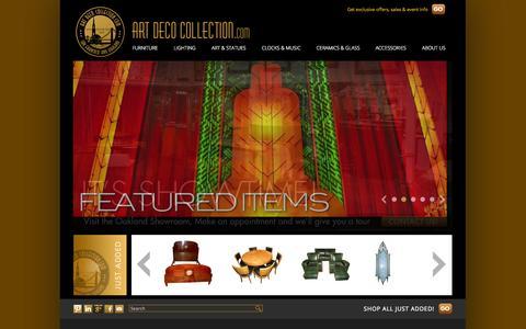 Screenshot of Home Page artdecocollection.com - Art Deco Collection.com | furniture | lighting | statues | glass | ceramics | bars | clocks | art | cocktail | dining |  antique | For Sale - captured Jan. 23, 2015