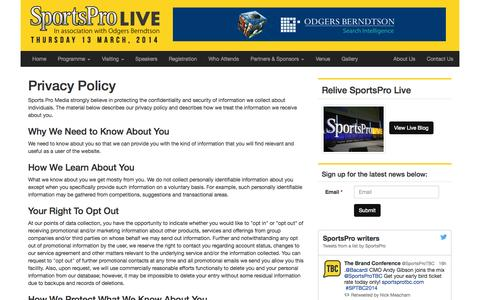 Screenshot of Privacy Page sportsprolive.com - Privacy Policy - SportsPro LIVE - captured Oct. 1, 2014