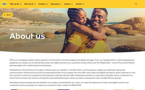 Screenshot of About Page mtn.com - About us - MTN Group - captured June 23, 2019