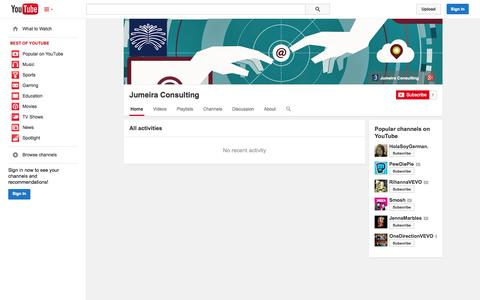 Screenshot of YouTube Page youtube.com - Jumeira Consulting  - YouTube - captured Oct. 23, 2014