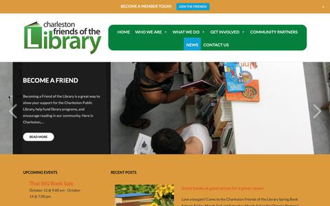 Screenshot of Press Page charlestonlibraryfriends.org - NEWS – Charleston Friends of the Library - captured Sept. 27, 2018