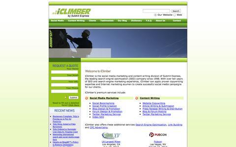 Screenshot of Home Page iclimber.com - iClimber – Social Media Marketing Services,  Article & Content Writing, Blog Design - captured Sept. 23, 2014