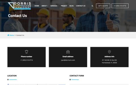 Screenshot of Contact Page dorriscm.com - Contact Us - captured Oct. 9, 2018