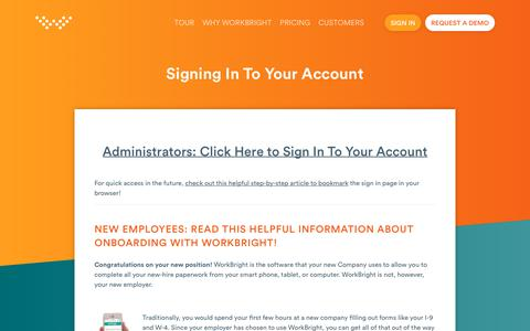 Screenshot of Login Page workbright.com - Signing In To Your Account | WorkBright - captured July 6, 2018