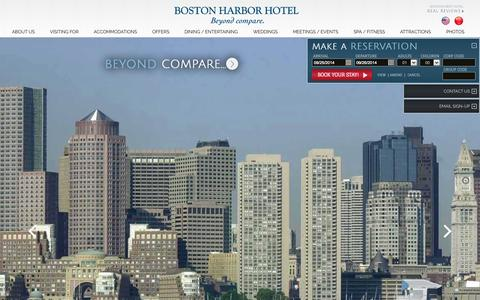 Screenshot of Home Page bhh.com - Boston Luxury Hotel | Boston Harbor Hotel | Beyond Compare - captured Sept. 25, 2014